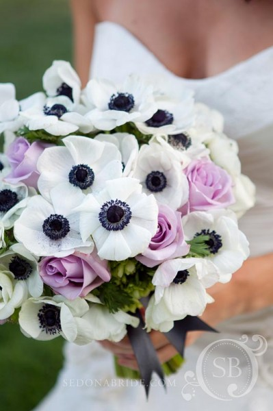 Spring bouquet of white, lavender and black, Image by SedonaBride.com