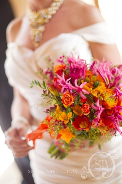 Spring bouquet of fuchsia, pink, tangerine and apple green, Image by Sedonabride.com