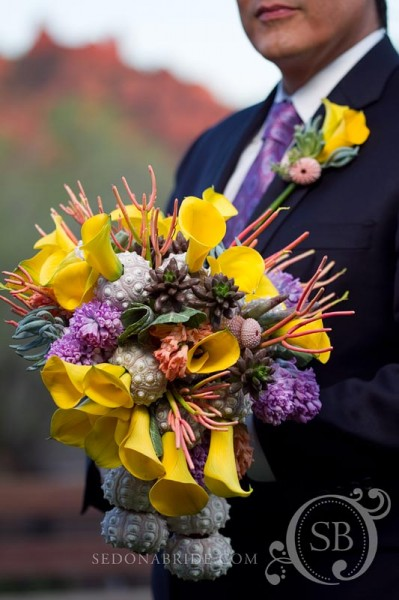 Summer bouquet of yellows and lavenders with sea life, succulents and cacti, Image by SedonaBride.com
