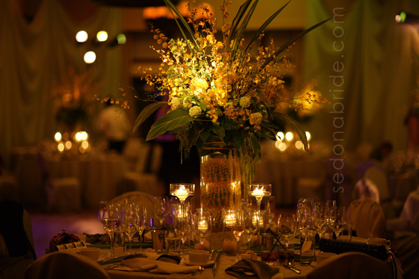 L'Auberge de Sedona Ballroom, Wedding In Sedona Az., Lighting, Draping, Floral Decor, Image By SedonaBride.com