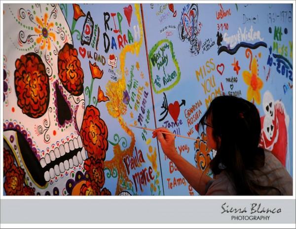 Frida kahlo wedding during dia de los muertos part two for Dia de los muertos mural