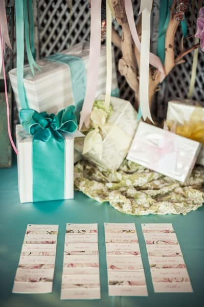 Gift table and seating assignment cards at a Sedona wedding