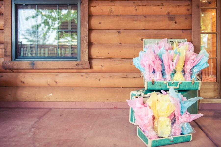 Vintage luggage with party favors at a wedding in Sedona.