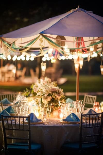 Detail of a dining table cluster at a Sedona wedding
