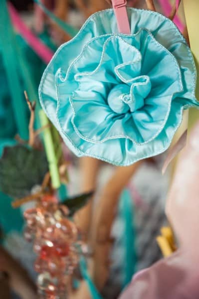 Hand-made ribbon flowers and glass grapes at Sedona's Dancing Apache Lodge and Vineyards